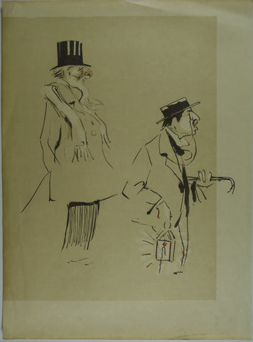 Men walking in darkness Lithograph