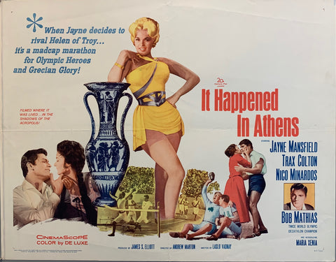 "Jayne Mansfield leaning on Greek vase, couples embracing people running track ""it happened in athens"" movie poster"
