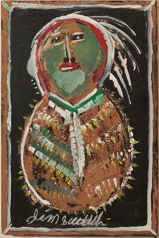 Native American in Green #95, Jimmie Lee Sudduth Painting