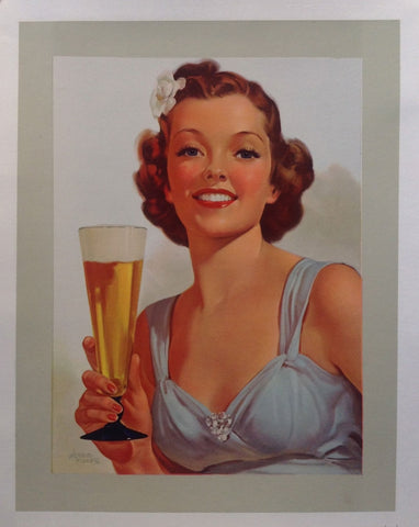 Lady enjoying a tall glass of beer