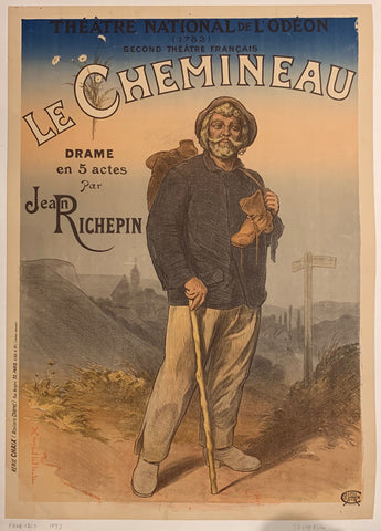 Turn of the Century poster of an elderly man on a hill, holding a walking stick in one hand and the strap of his backpack in the other.