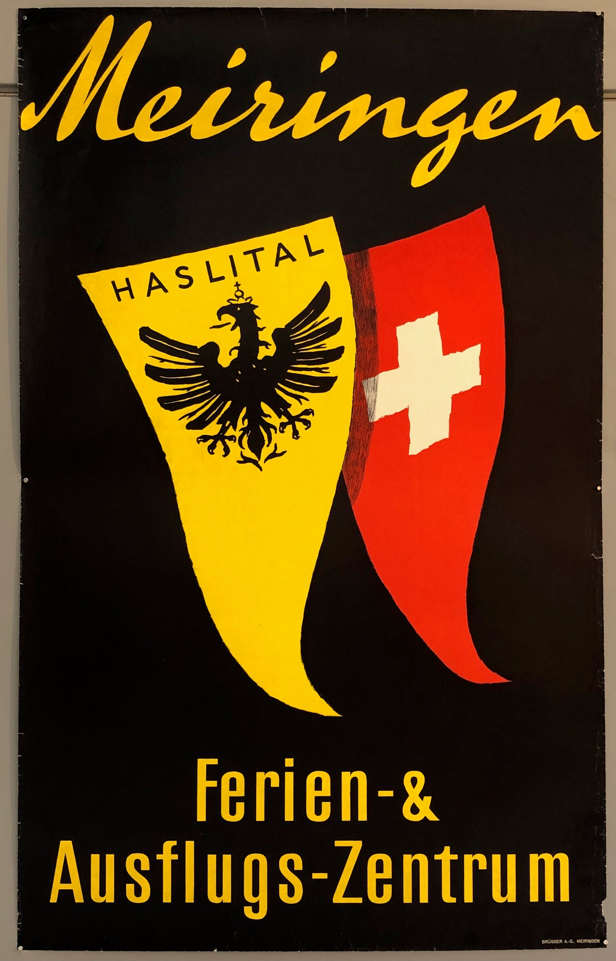 Poster featuring the Haslital coat of arms and the Swiss flag