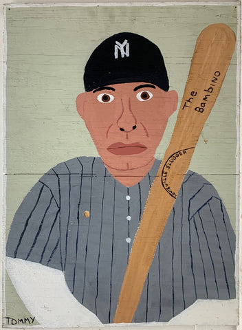 A Tommy Cheng portrait of Babe Ruth holding a baseball bat, wearing a New York Yankees baseball hat, and wearing a striped baseball uniform.