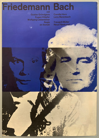 Movie poster with what looks like silk screened images of two mens faces over a blue and white background.