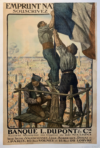 A sketch of three boys putting up a french flag on a spire, with the writing on the top and the bottom of the print.