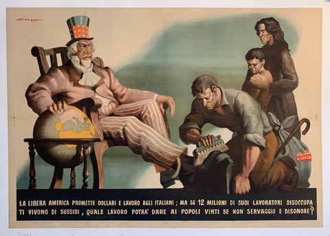 A cartoonish image of uncle sam in a chair wit a globe and immigrants at his feet. The font is in white against black on the bottom. This is horizontal.
