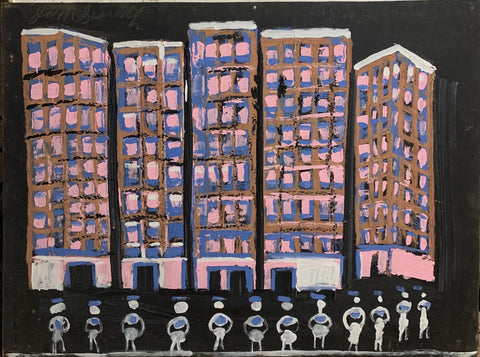 Apartment With Pink Windows #37, Jimmie Lee Sudduth Painting