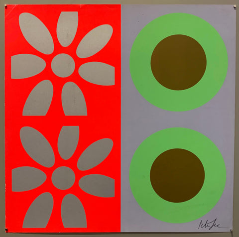 A square of four large motifs on paper. The colors are neon orange with metallic silver flowers, the other is grey with light green and brown targets