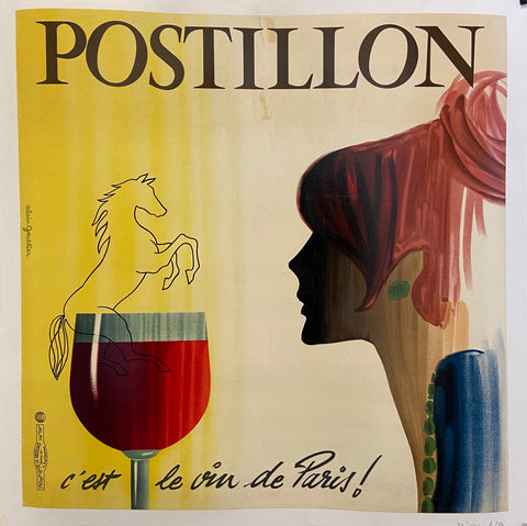 Poster for Postillon wine featuring a woman in profile sitting before a glass of red wine
