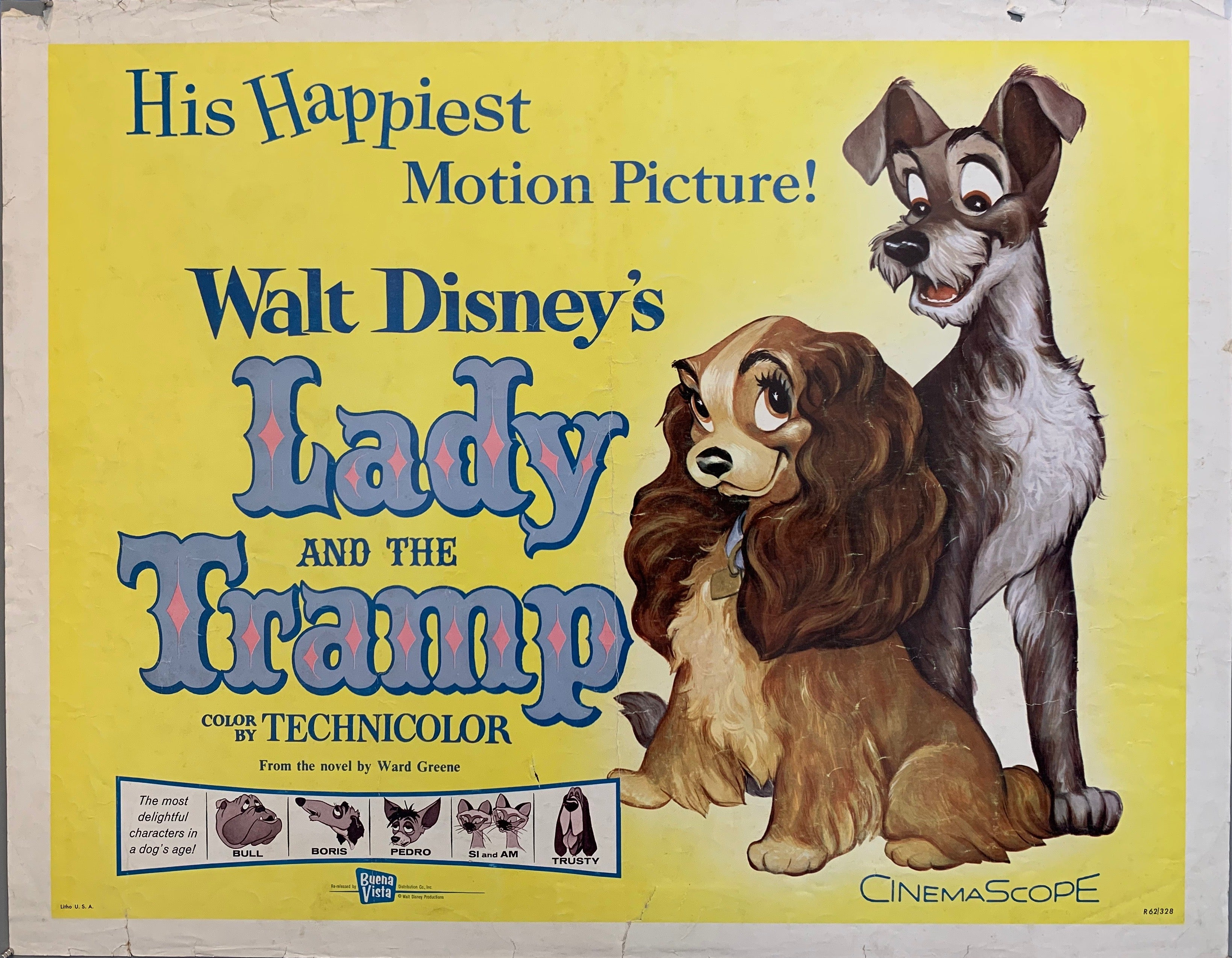 Movie Poster, Lady and The Tramp, two dogs looking at each other