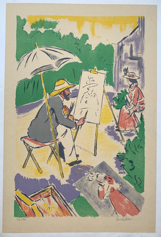 Artist drawing outdoors - Poster Museum