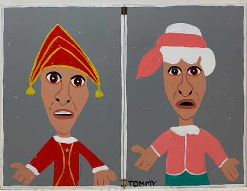 A Tommy Cheng painting of Punch and Judy, the puppets.