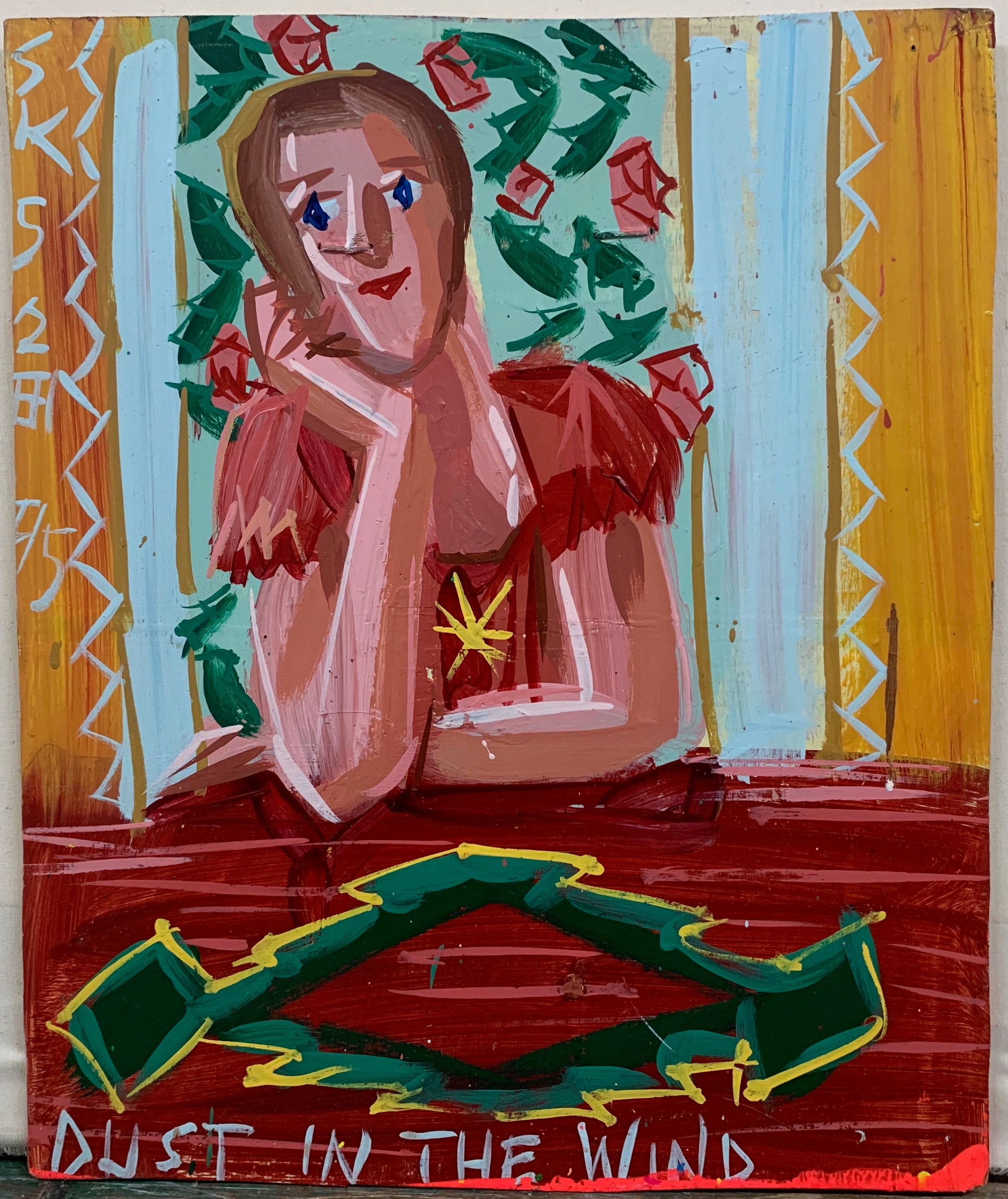 A Steve Keene painting of a woman in a red dress sitting at a red table in front of vines of red roses.