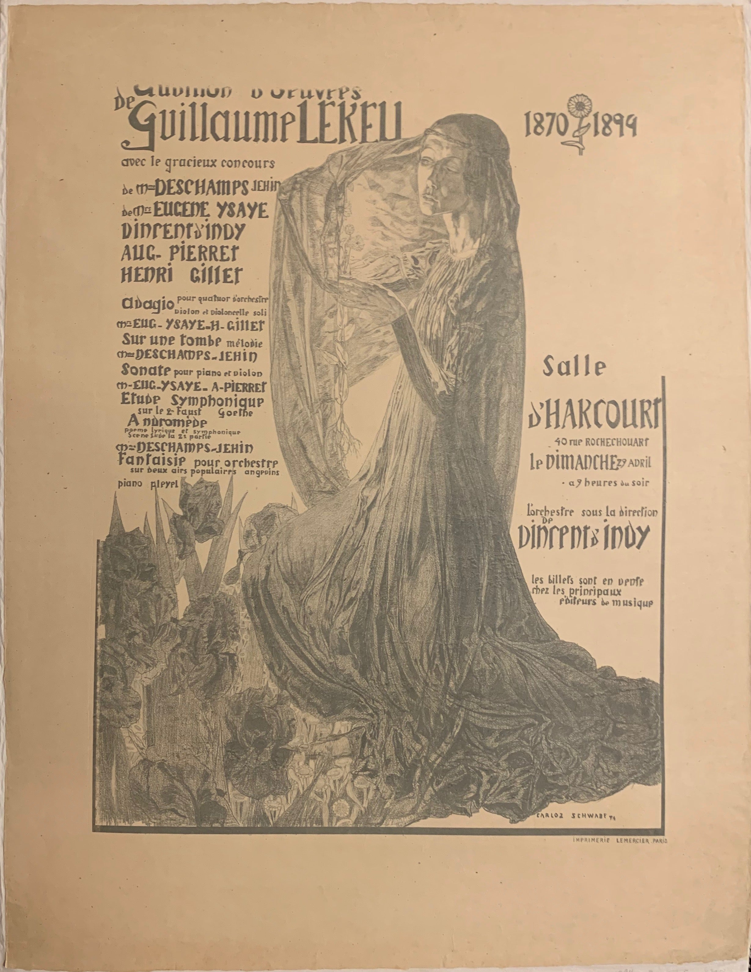 Turn of the Century poster advertising a concert, a woman in black and white illustrated in the center of the poster, wearing a long, draped gown.