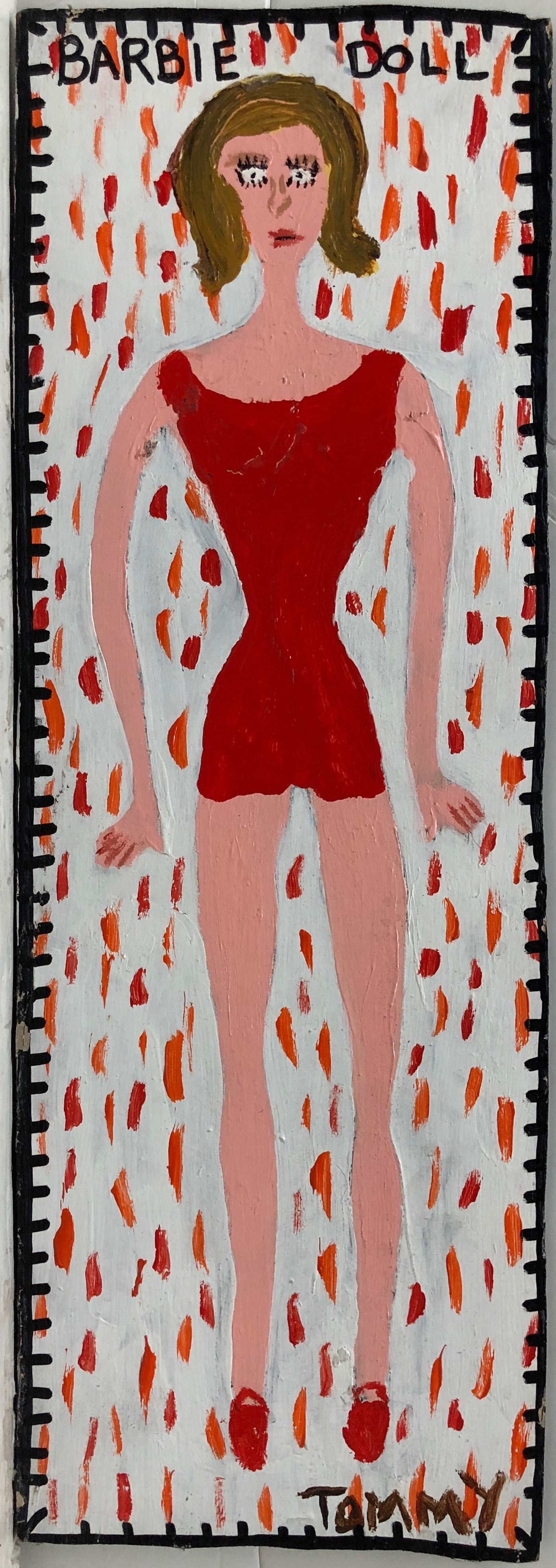 Painting of a Barbie doll in a red romper and matching red shoes.