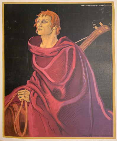 Poster of a man in a red robe carrying a car on his back.