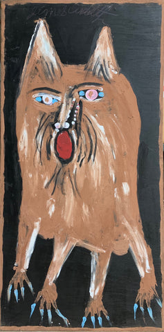 A painting of a scowling dog.