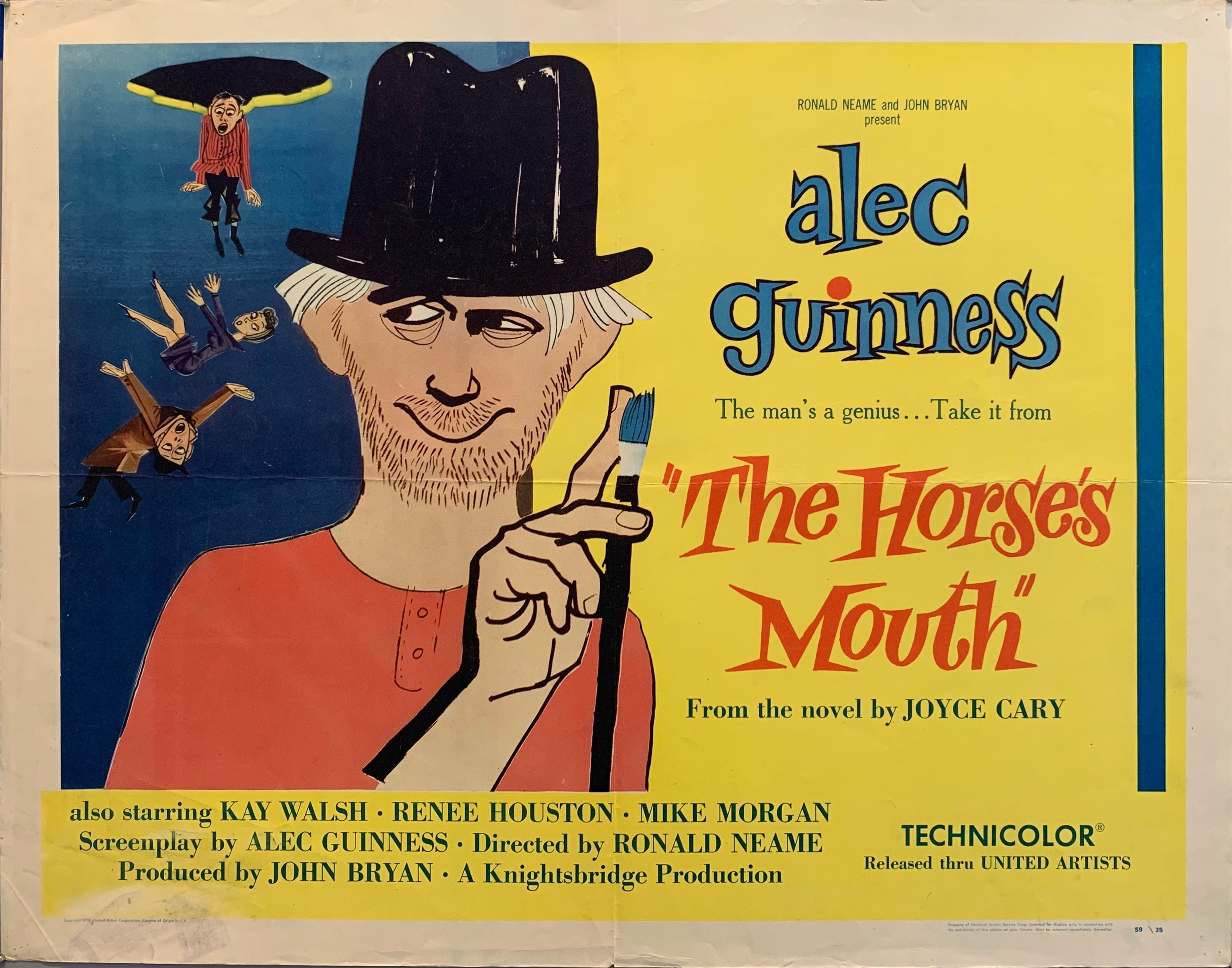 the horses mouth movie poser man holding paintbrush cartoon people falling