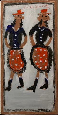 A painting of two ladies in blue blouses with red skirts.