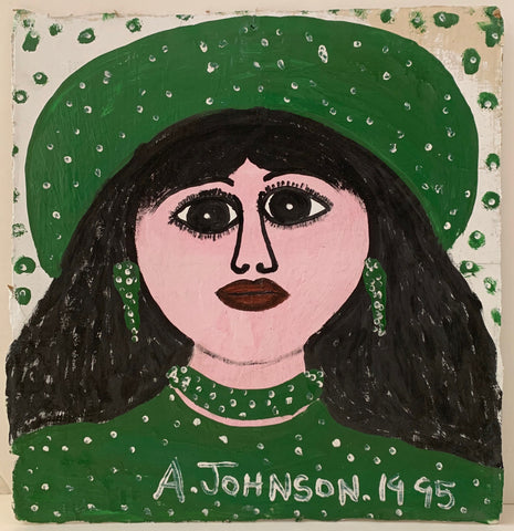 Brunette in Green Anderson Johnson Painting