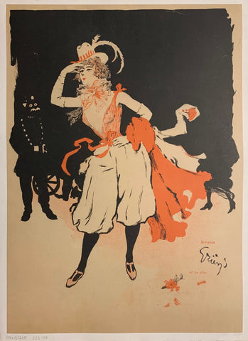 Turn of the Century poster of a woman in a hat with a feather, a red top, and white bloomers posing with her hand shading her eyes.