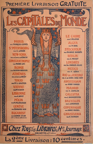 Turn of the Century poster advertising a book on the capitals of the world. Illustrated on the poster is a redhead in a long blue dress.