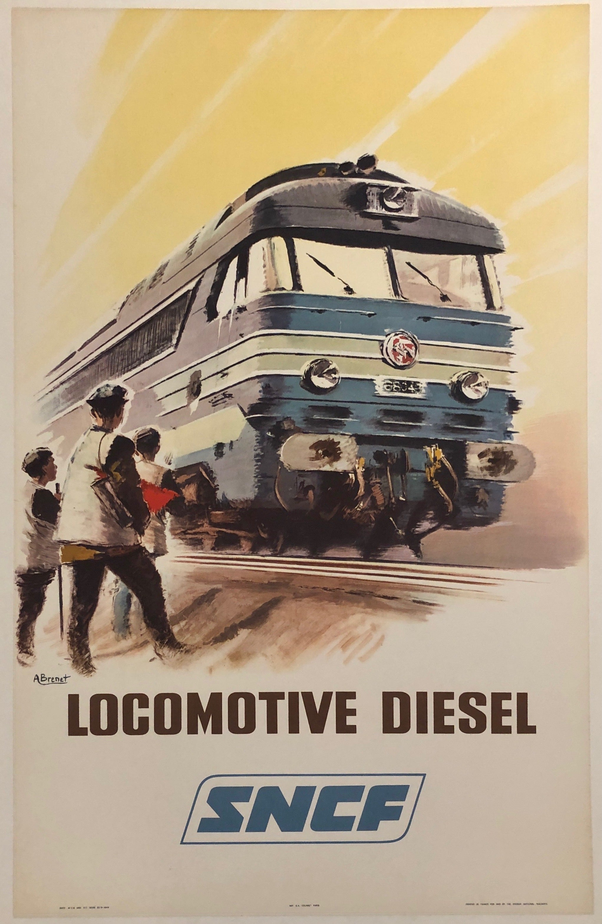 French poster for the SNCF. The Société nationale des chemins de fer français (SNCF) is France's national state-owned railway company.  The poster shows a speeding train rushing past three figures on the side of the tracks.