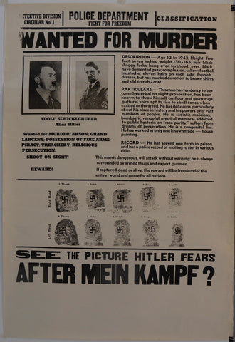 "Hitler Wanted for Murder ""See the Picture Hitler Fears After Mein Kampf?"" - Poster Museum"
