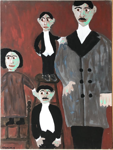 A painting of three midgets, two men in suits and one woman in a dress, next to a giant in a grey overcoat.