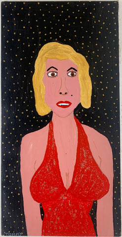A Tommy Cheng portrait of Marilyn Monroe in a sparkly red dress on a black and orange polka-dotted background.