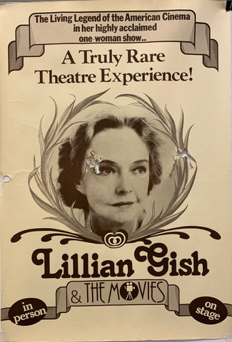 A poster featuring a black and white photograph of Lillian Gish