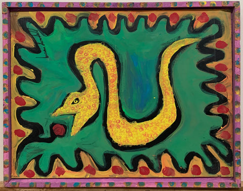 A Brian Dowdall painting of a yellow snake with red dots.