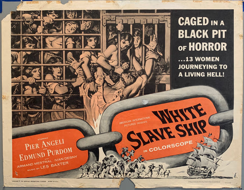 women in bars and chains grabbing at man on a slave ship  white slave ship movie poster