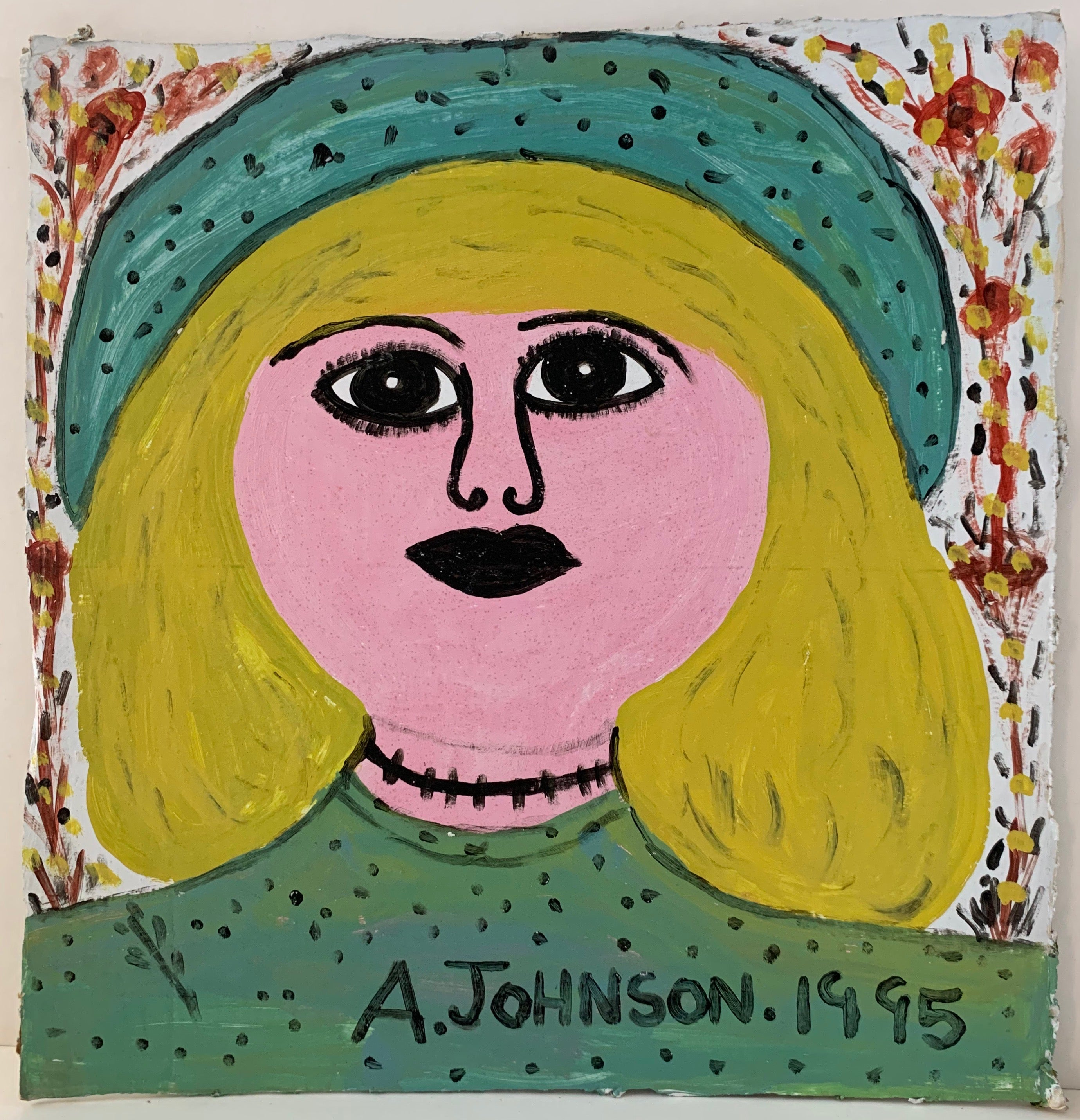 Woman Wearing Blue Hat Anderson Johnson Painting