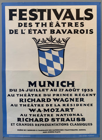 Poster has text in french with the old Bavarian coat of arms crest in the middle and a blue border around the edges.