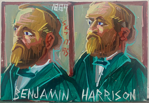 A Steve Keen portrait of two Benjamin Harrison's in green suits.