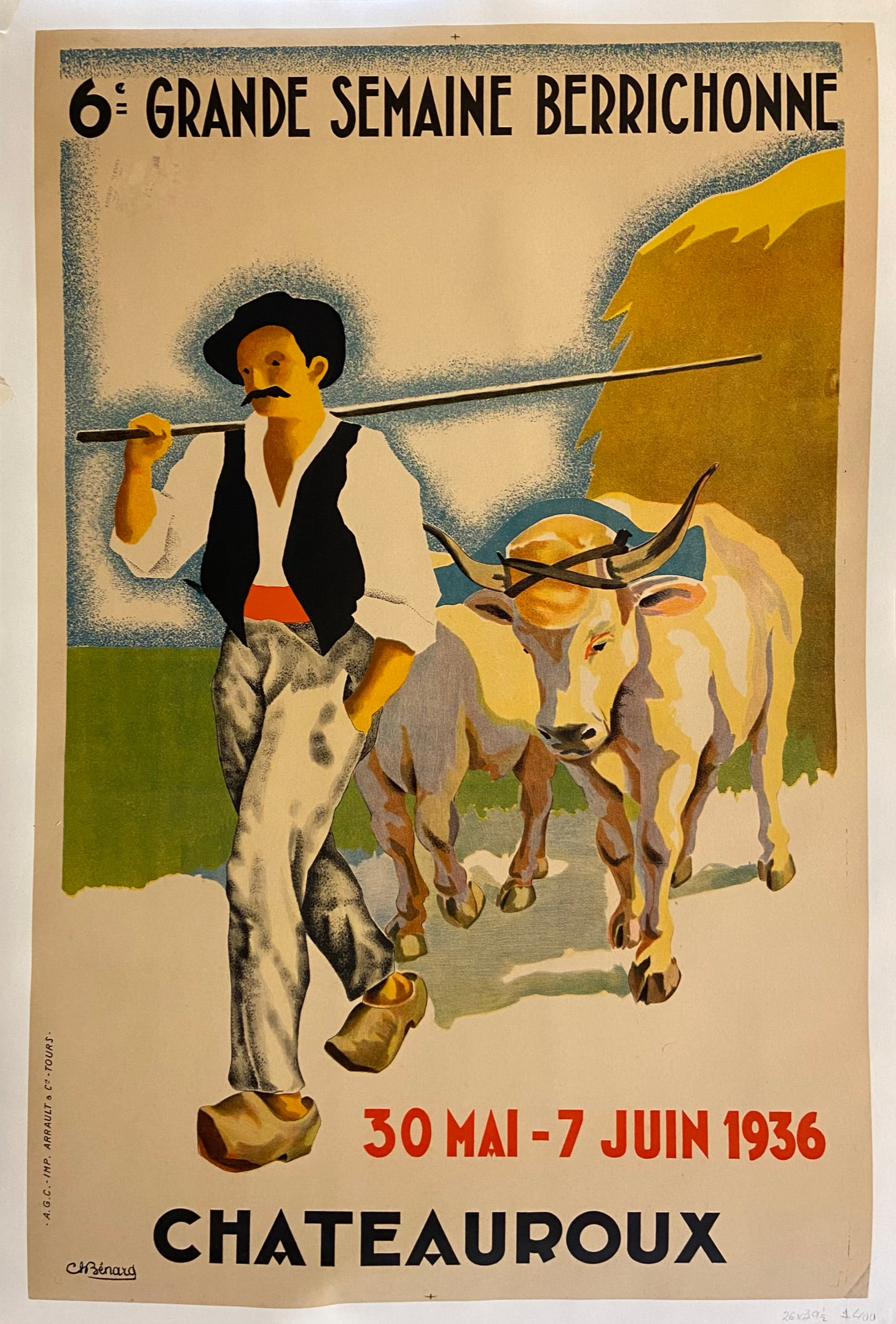 Poster of a farmer leading his cattle pulling a wagon of hay