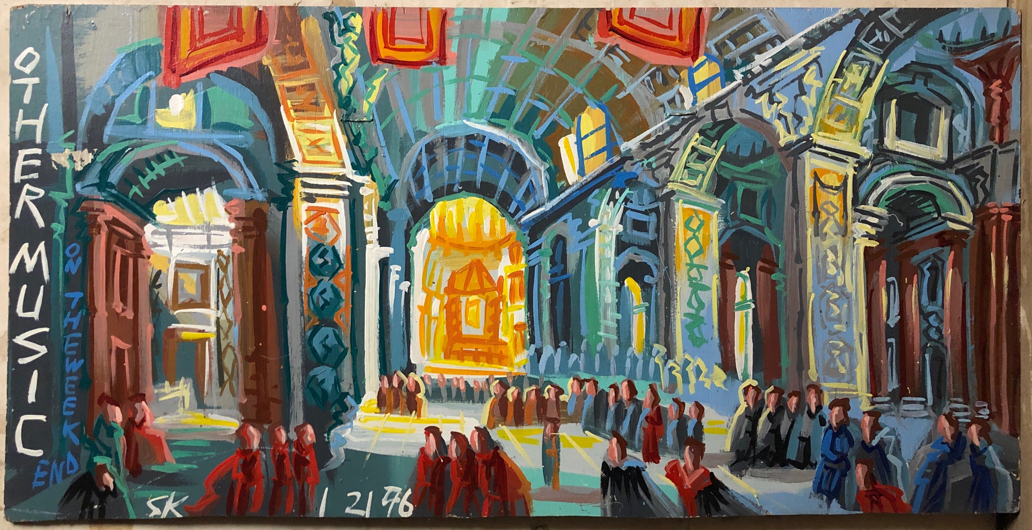 A Steve Keene painting of a cathedral with high arched ceilings and congregants inside.