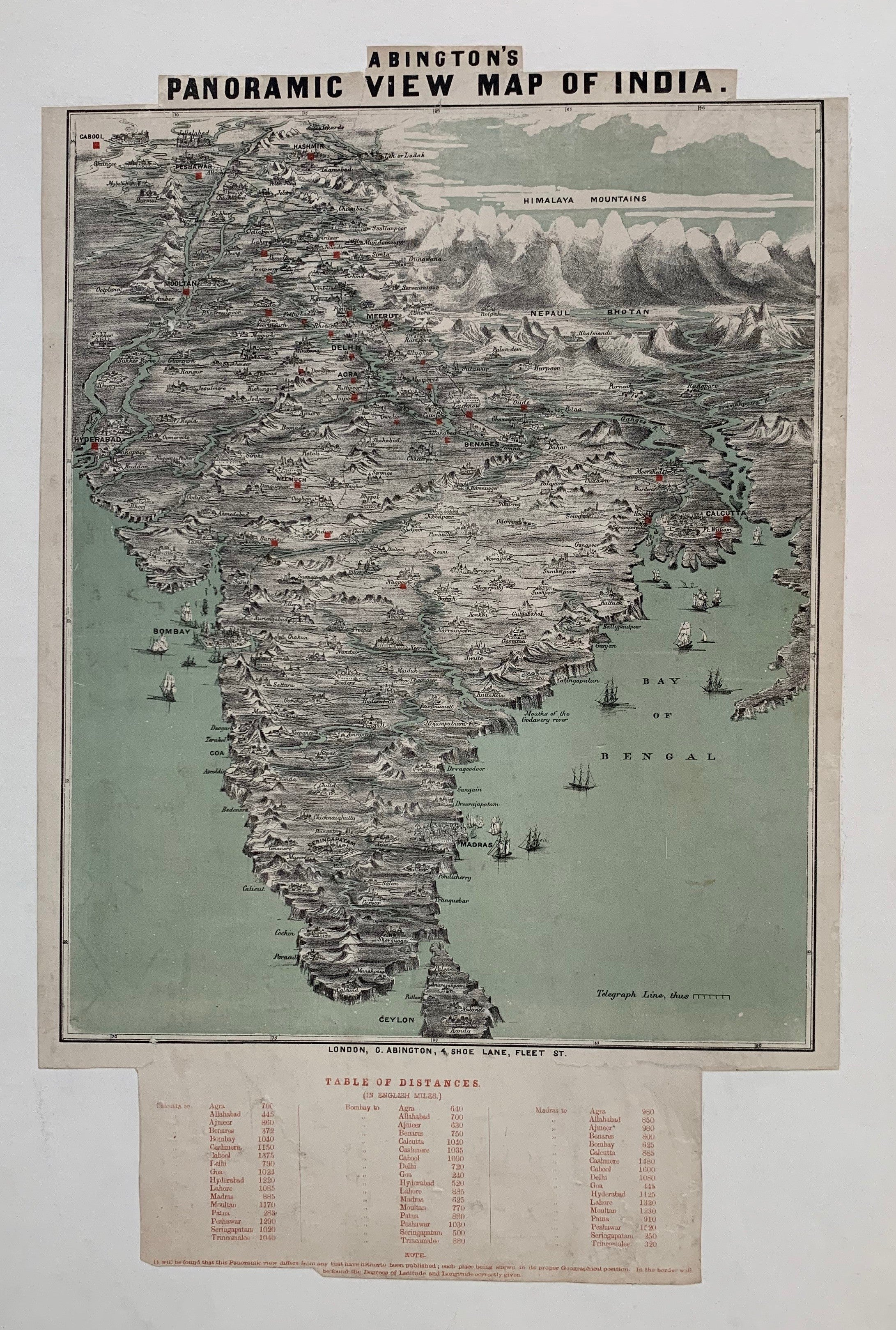 Abington's Panoramic View Map of India