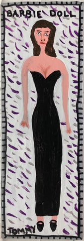 Painting of a brunette Barbie in a long black evening gown.