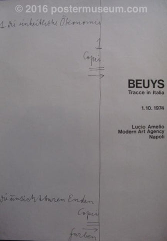 "Black and white poster. On the right-hand side written in a large, bold, black typeset are the words ""Beuys Tracce in Italia 1.10.1974 Lucio Amelio Modern Art Agency Napoli."" On left-hand side of the poster are words written in an unintelligible script. Dividing the two halves of the poster is a hand-drawn, black line that goes down the middle of the poster."