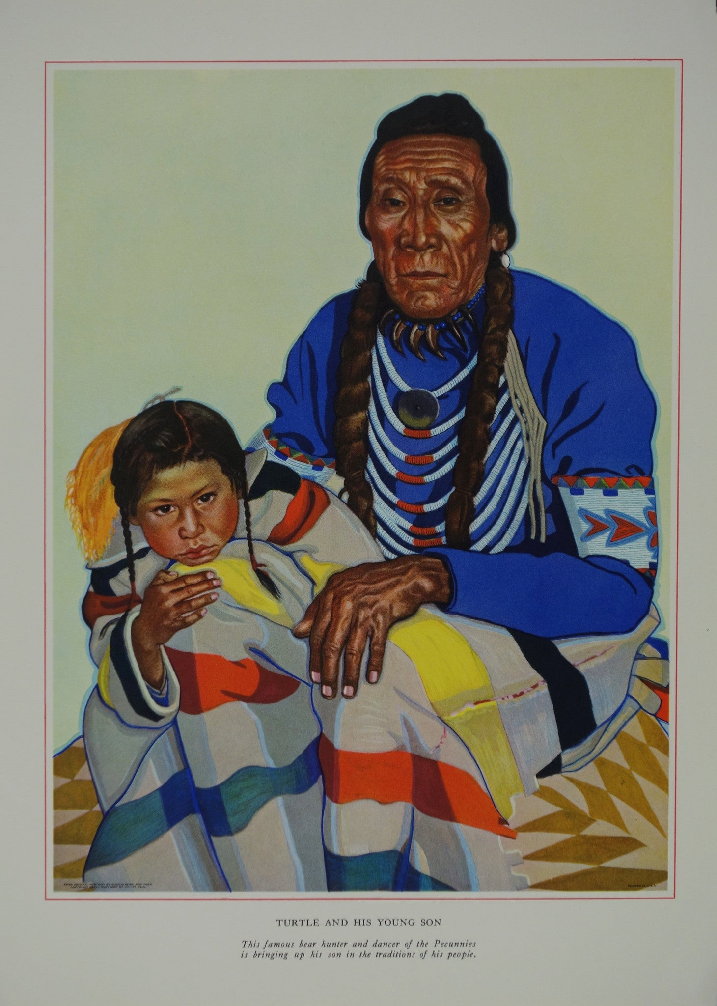 Portrait of Blackfeet Indian - Turtle and his Young Son