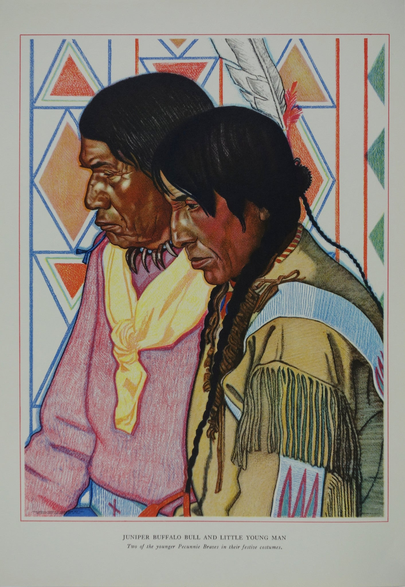 Portrait of Blackfeet Indian - Juniper Buffalo Bull and Little Young Man