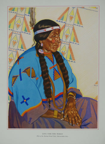 Portrait of Blackfeet Indian - Long Time Pipe Woman