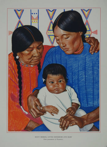 Portrait of Blackfeet Indian - Many Horses, Little Rosebush and Baby
