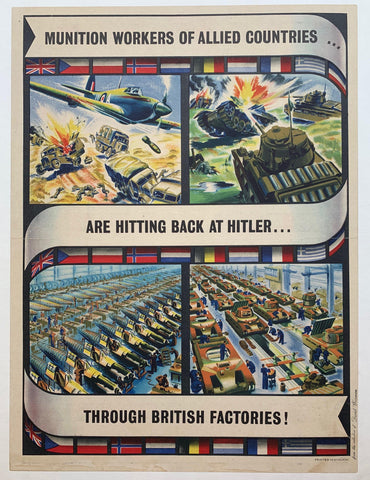 Munition workers of allied countries are hitting back at hitler through british factories! - Poster Museum