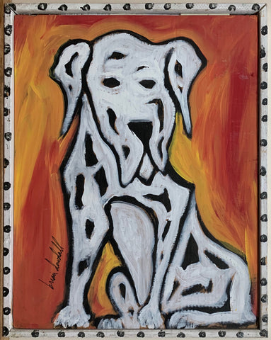 A Brian Dowdall painting of a dalmation set against a fire-like background.