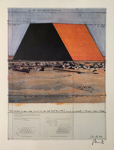 A Christo sketch of the Mastaba, a giant orange structure made out of barrels, along with barrel details at the bottom.