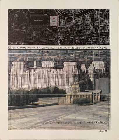 A sepia-toned poster including a pencil sketch by Christo of Reichstag and a street map of Berlin.