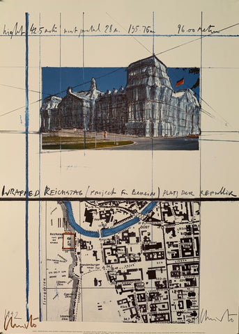 The poster contains a sketch of the wrapped Reichstag and a map of Berlin with the Reichstag highlighted in red.